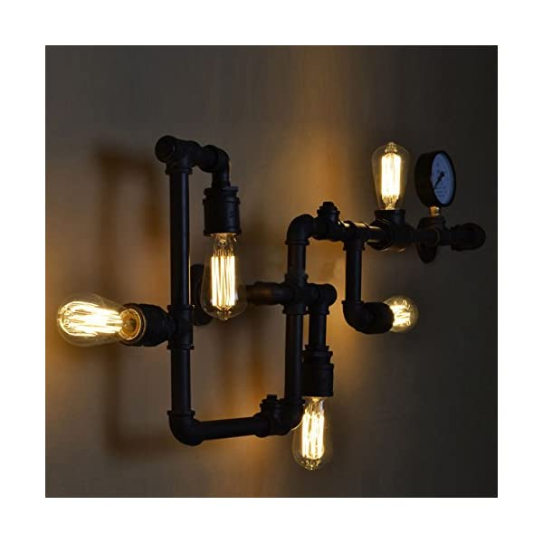 BAYCHEER HL371017 Industrial Retro Vintage Style Farmhouse Industry Steam Punk Water Pipe Wall Sconce Wall Light lamp with use 5 Each 40w E26 Bulbs 5