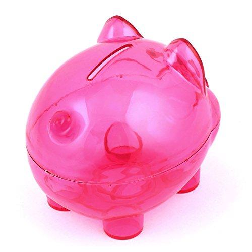 uxcell Plastic Pig Shape Money Cash Saving Pot Coin Piggy Bank Clear Fuchsia