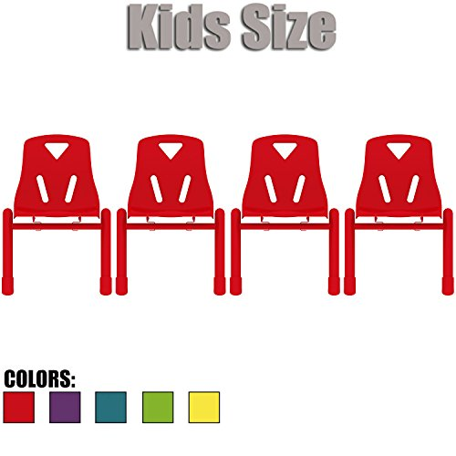 2xhome - Set of Four (4) - Red - Kids Size Plastic Side Chair 12'' Seat Height Red Childs Chair Childrens Room School Chairs No Arm Arms Armless Molded Plastic Seat with Coated Metal Legs Stackable by 2xhome