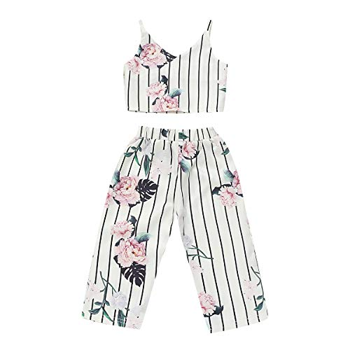 Toddler Kids Infant Baby Girls Cute Pants Bowknot Strap Stripe Romper Jumpsuit Top Outfits Clothes Set (3-4 Years, Floral)