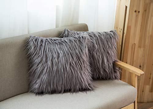 2 Pack Decorative Pillow Covers for Sofa, New Luxury Series Throw Pillows Farmhouse Faux Fur Merino Style Cushion Cover Couch Bedroom, 18 x 18, Grey