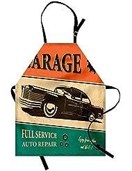 Ashasds Vintage Apron, Garage Retro Poster with Classic Car Automobile Mechanic Nostalgic 50s, Unisex Kitchen Bib Apron with Adjustable Neck for Cooking Baking Gardening, Orange Beige Jade Green