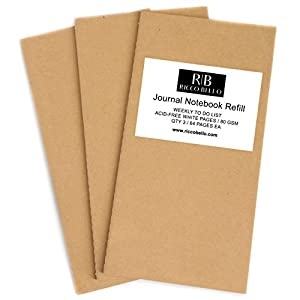 "Weekly To Do List Journal Refill Insert with Daily Calendar for Regular Size RICCO BELLO Aventura Travel Notebook | 8.25"" x 4.25"" Acid Free White 