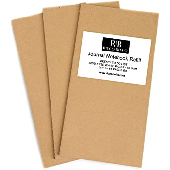 """Weekly To Do List Journal Refill Insert with Daily Calendar for Regular Size RICCO BELLO Aventura Travel Notebook   8.25"""" x 4.25"""" Acid Free White   Set of 3 – Total 192 Pages"""