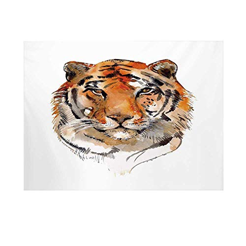 Wildcats Video Chair - Tiger Photography Background,Feline Animal with Calming Stare Hand Drawn Watercolor Art Exotic Wildcat Hunter Backdrop for Studio,10x10ft