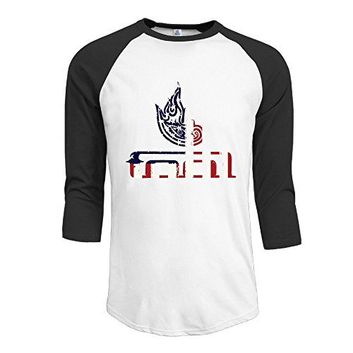 YI Own Men's Funny Tool Band 3/4 Sleeve Baseball T-Shirt Black