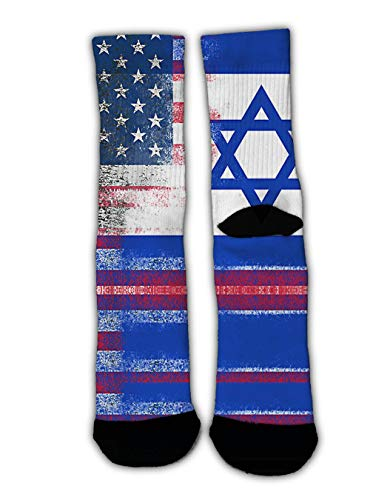 KYWYN Funny Israel Half America Flag Soft Dress Socks Gift,Colorful Pattern Cotton Crew Socks Athletic Socks for Cold Winter ()