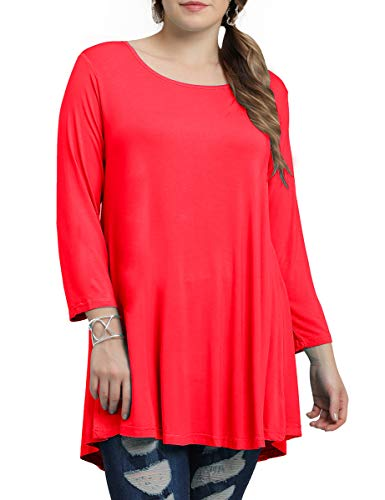 BELAROI Women Plus Size 3/4 Sleeve Comfy Tunic Tops Loose T-Shirt(L,Red)