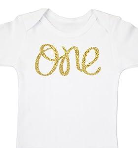 Baby Girls First Birthday Onesie Sparkly Gold One