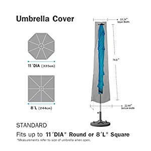 Umbrella Covers,Patio Waterproof Market Parasol Covers with Zipper for 7ft to 11ft Outdoor Umbrellas, Large