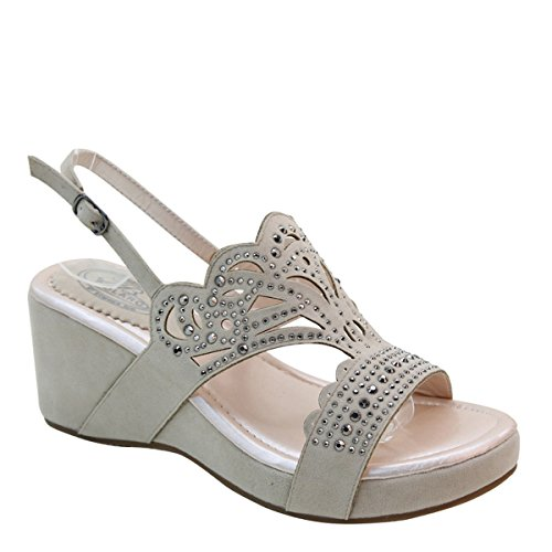 New Brieten Donna Bling Borchiato Cut-out Zeppa Piattaforma Sandali Comfort Sandali Beige
