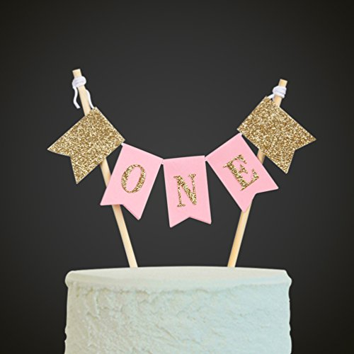 Handmade ONE First Birthday Cake Topper - 1st Birthday Cake Bunting for Baby Girl Party Supplies
