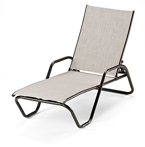 Telescope Casual Furniture Gardenella Sling Collection Four-Position Stacking Aluminum Chaise, Bark, Textured Kona (Kona Outdoor Furniture)
