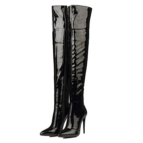Xianshu Womens Pointed Toe High Heel Boots Patent Leather Over-Knee Boots Black