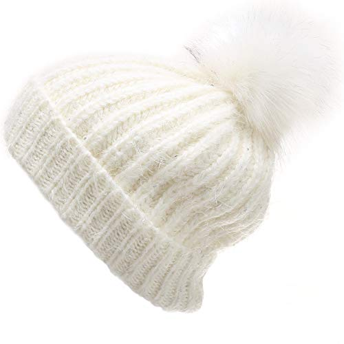 (MIRMARU Women's Soft Chunky Scattered Sequin Fuzzy Cable Knit Faux Pom Pom Beanie hat with Sherpa Lined (Cream))