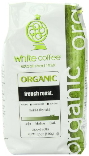 White Coffee Organic Ground Coffee, French Roast, 12 Ounce