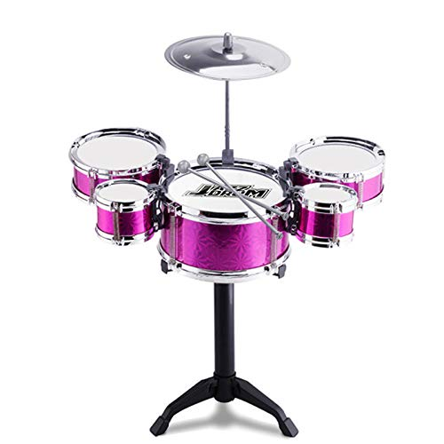 Easyliving Drum Set for Babies Mini Toy Jazz Drum Early Educational Musical Instrument 5 Drums (Red) -