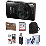 Canon PowerShot ELPH 190 IS 20MP Digital Camera, Black - Bundle With 16GB Class 10 SDHC Card, Camera Case, Spare Battery, Card Reader, Cleaning Kit, Software Package