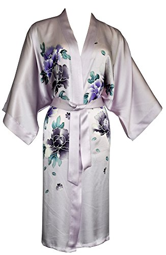 Amazing Grace Women's Silk Kimono, Short Robe - Hand Painted Floral (Lilac Floral)