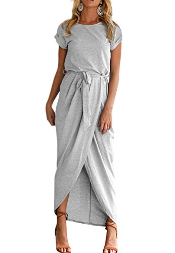 - YMING Women's Slit Dress Warp Casual Dress Solid Color Max Dress with Belt Grey M