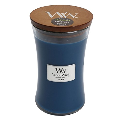 NEW DENIM WoodWick Glass Jar Scented Candle, Large 22 oz. by WoodWick