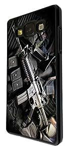 909 - Army equipment gun rifle M16 funky Design For Samsung Galaxy J1 Fashion Trend CASE Back COVER Plastic&Thin Metal - Black