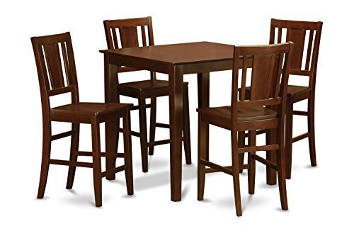 - East West Furniture VNBU5-MAH-W 5-Piece Counter Height Dining Table Set, Mahogany Finish