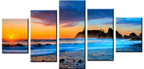 Wowdecor Canvas Prints 5 Pieces Multiple Pictures Wall Art - 5 Panels Beautiful Sunset Beach Scene Giclee Pictures Painting Printed on Canvas, Posters Wall Decor Gift - UNFRAMED (Beach Scene Paintings)