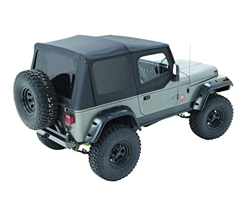 Bestop 79123-01 Black Sailcloth Replace-A-Top Soft Top with Tinted Windows and Upper Door Skins for 1988-1995 Wrangler YJ