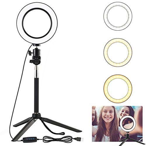"6.3"" Dimmable LED Selfie Ring Light with Tripod Stand, Mini LED Camera Light Studio Fill Light Desktop Lamp for YouTube Video, Live Streaming, Portrait Photography Lighting, Makeup, Camera, Smartphone"