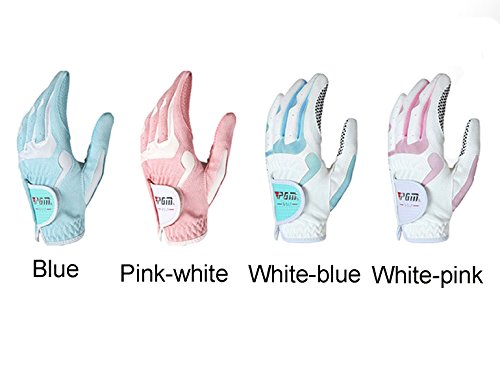 PGM Women's Golf Glove Elastic Anti-slip Golf Glove with Breathable Soft Fiber Cloth Velcro Design Easy to Adjust Pack of 1 Pair by Acstar