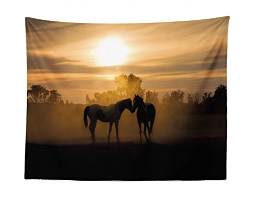 Lunarable Horse Tapestry, Silhouette Stallions in Love Farmhouse Landscape Romantic Sunset Forest, Fabric Wall Hanging Decor for Bedroom Living Room Dorm, 28 W X 23 L inches, Dark Brown and Peach