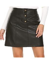 Women's Faux Leather Skirts High Waist Button Front A Line Short Mini Skirt