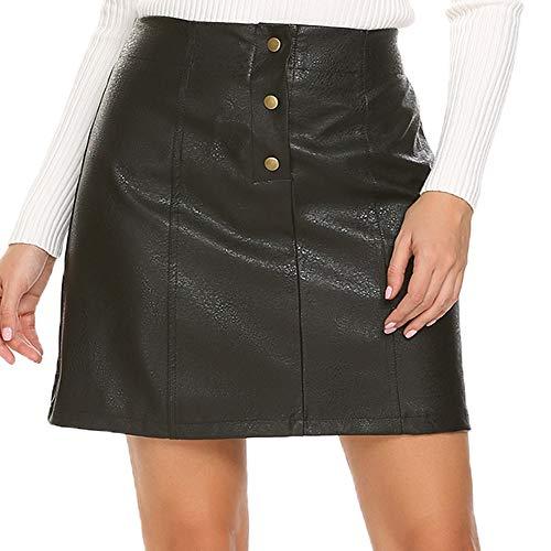 e7df7cc3d Mofavor Women's Button Front Classic High Waist A Line Faux Leather Mini  Skirt
