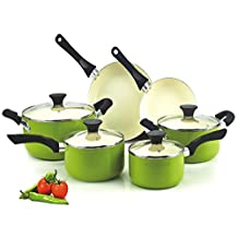 Cook N Home NC-00358 Nonstick Ceramic Coating PTFE-PFOA-Cadmium Free 10-Piece Cookware Set, Green