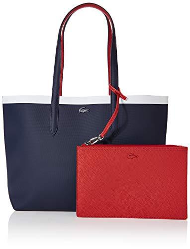 Lacoste - Anna Fantaisie, Shoppers y bolsos de hombro Mujer, Azul (Peacoat Pompeian Red), 14x29x35 cm (W x H L)