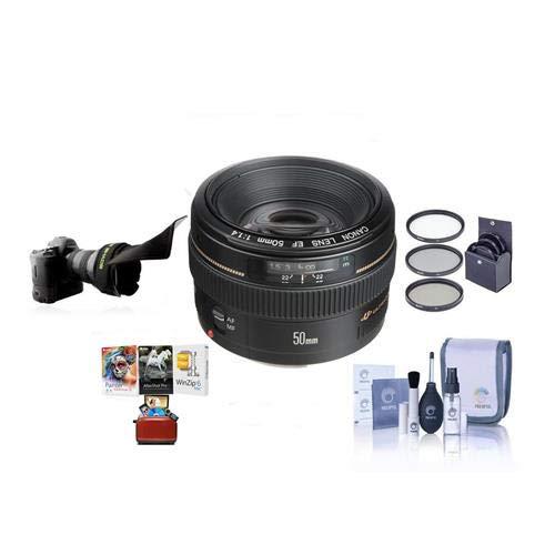 Canon EF 50mm f/1.4 USM 標準オートフォーカスレンズキット、USA - 58mmフィルターキット、レンズキャップリーシュ、クリーニングキット、Macソフトウェアパッケージ   B07HCNG5CL