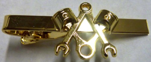 (Piston Wrench Harley Polished Gold Plated Motorcycle Mechanic Square Compass Masonic Tie Bar Clip)