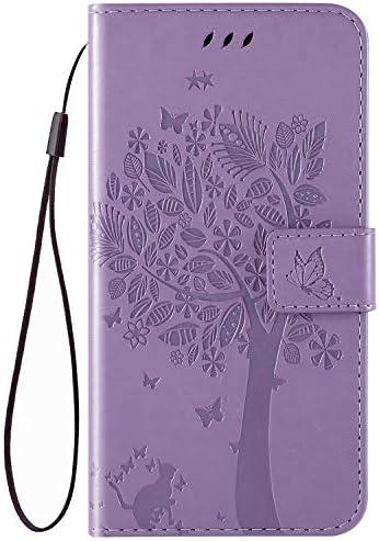 QPOLLY Kompatibel für Nokia 3.2 Hülle Leder Tasche Flip Case Katze und Baum Muster Handytasche Magnet Schutzhülle im Brieftasche-Stil mit Kartenfächer Standfunktion,Helles Lila
