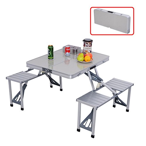 Patio Outdoor Garden Aluminum Portable Folding Camping Backyard Picnic Table W/ 4 Seats #380 (Patio Furniture Miami Fl)