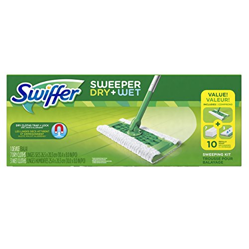 Swiffer Sweeper Cleaner Dry and Wet Mop Starter Kit for Cleaning Hardwood (Gamble Swiffer Sweeper)