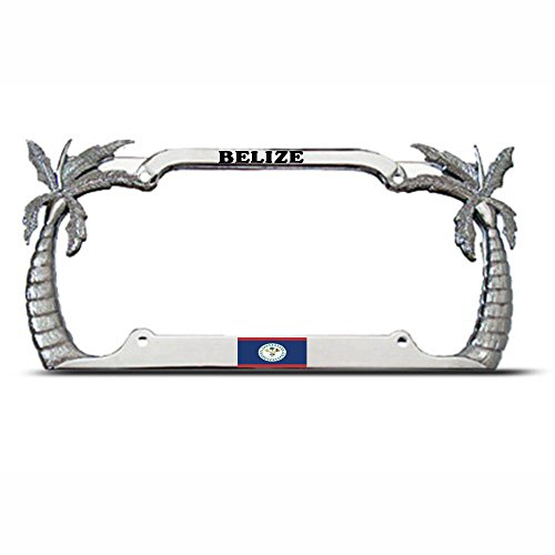 - Moon Belize Flag Palm Tree Tropical Country Pride License Plate Frame Tag Holder Perfect for Men Women Car garadge Decor