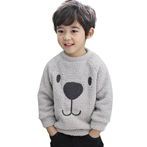 Kids Winter Clothes, Toddler Baby Boy Girl Cartoon Bear Warm Fleece Sweatshirt Coat Sweater (Gray, - Winter Fleece Sweatshirt