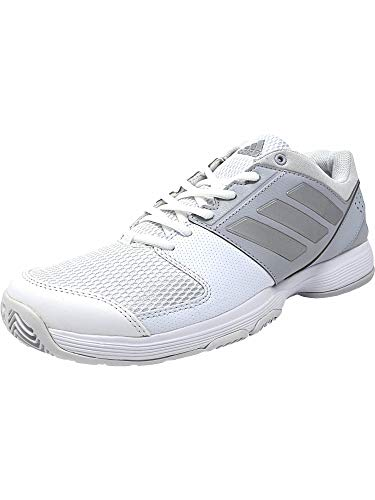 adidas Women's Barricade Court Tennis Shoes, White/Metallic Silver/Medium Grey Heather, (7.5 M US)