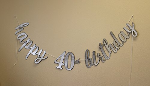 All About Details Happy 40th Birthday Cursive Banner (Black & Silver)