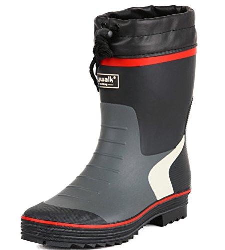 ACE SHOCK Rain Boots Men Mid-Calf, Casual Outdoor Waterproof Rain Footwear Antiskid (7.5, Black)