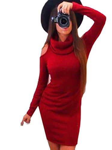 Donne Giacca Puro Spalla Fuori Moda Vestito Coolred Rosso Polo Collo Colore Scarno rRnrwg