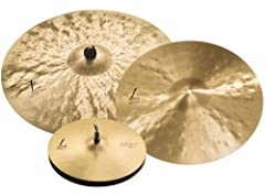"3-piece B20 Cymbal Set with 15"" Hi-hats (Pair), 19"" Crash, and 22"" Heavy Ride"