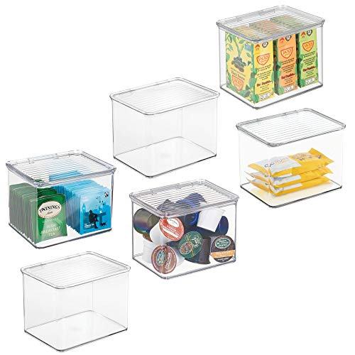 mDesign Plastic Stackable Kitchen Pantry Cabinet or Refrigerator Food Storage Container Bin, Attached Hinged Lid - Organizer for Snacks, Produce, Pasta - BPA Free - Deep Container - 6 Pack ()