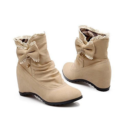 VogueZone009 Women's Low-top Solid Pull-on Round Closed Toe Kitten Heels Boots, Beige, 38 by VogueZone009 (Image #2)